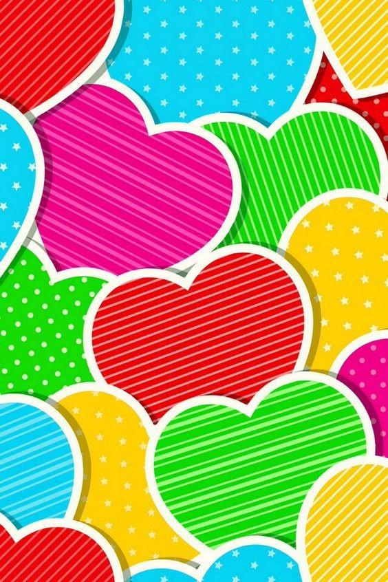 corazones de colores fondo - photo #3